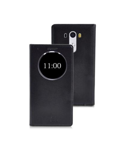 Microsonic View Slim Kapaklı Deri Lg G3 Kılıf Akıllı Modlu Siyah Renkli